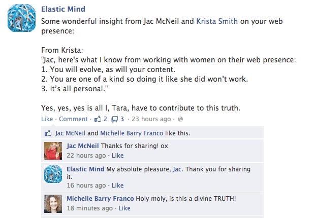 Facebook testimonial for Krista Smith, evolve coaching