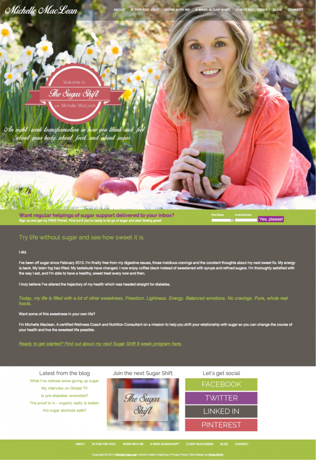 MIchelle MacLean's web design by Krista Smith