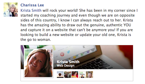 Krista Smith, kind words from Charissa Lee