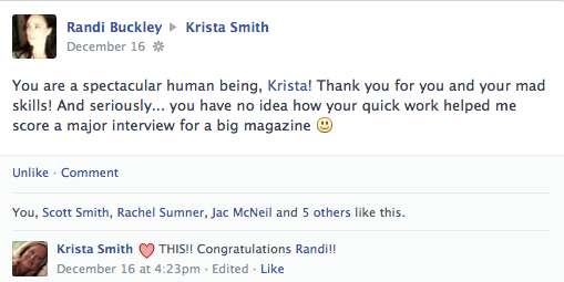 Krista Smith Compliments from Randi Buckley