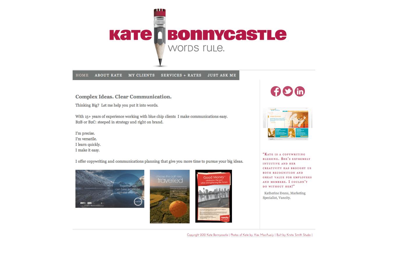 A kristasmith.ca design for Kate Bonnycastle