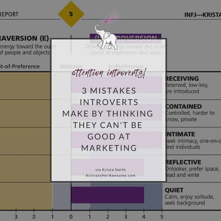 3 Mistakes Introverts Make in Thinking They Can't be Good at Marketing via Krista Smith at ActivateHerAwesome.com