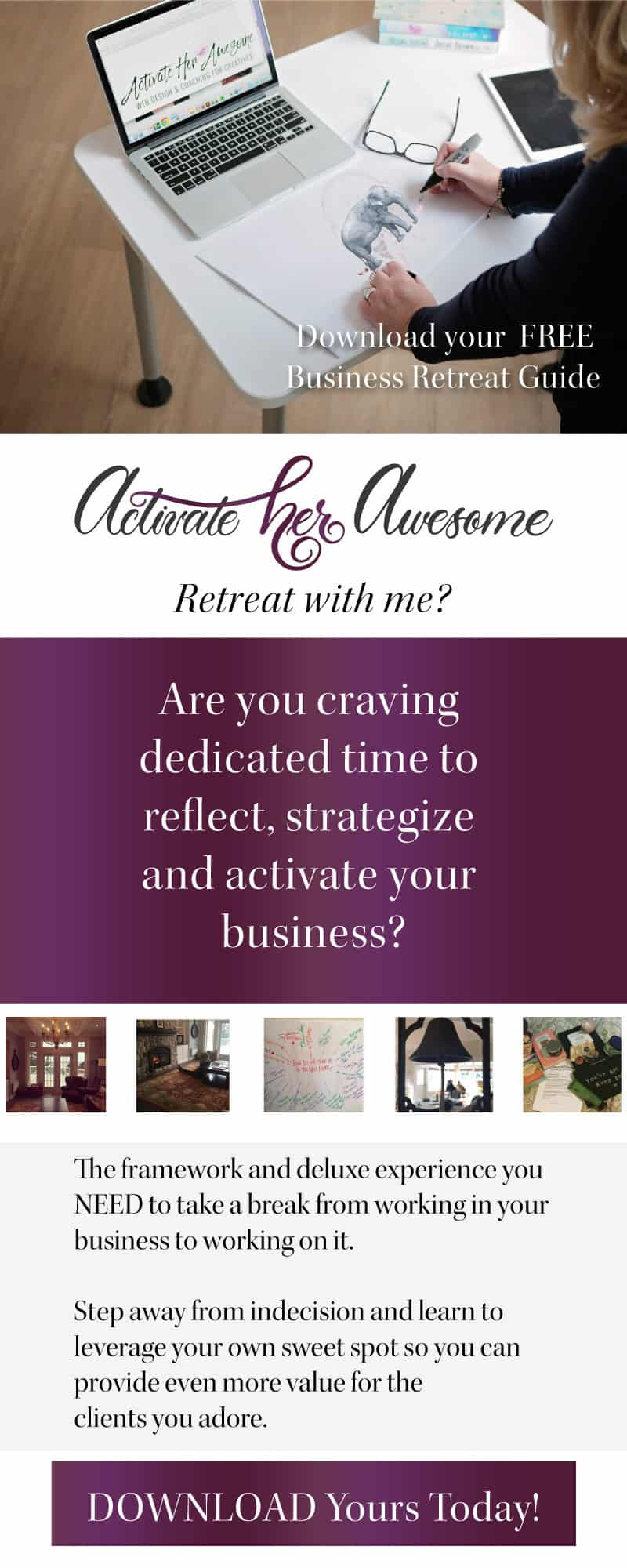 Are you ready to take yourself on a business retreat? Get your FREE framework with Krista Smith's Mini Business Retreat Guide at ActivateHerAwesome.com