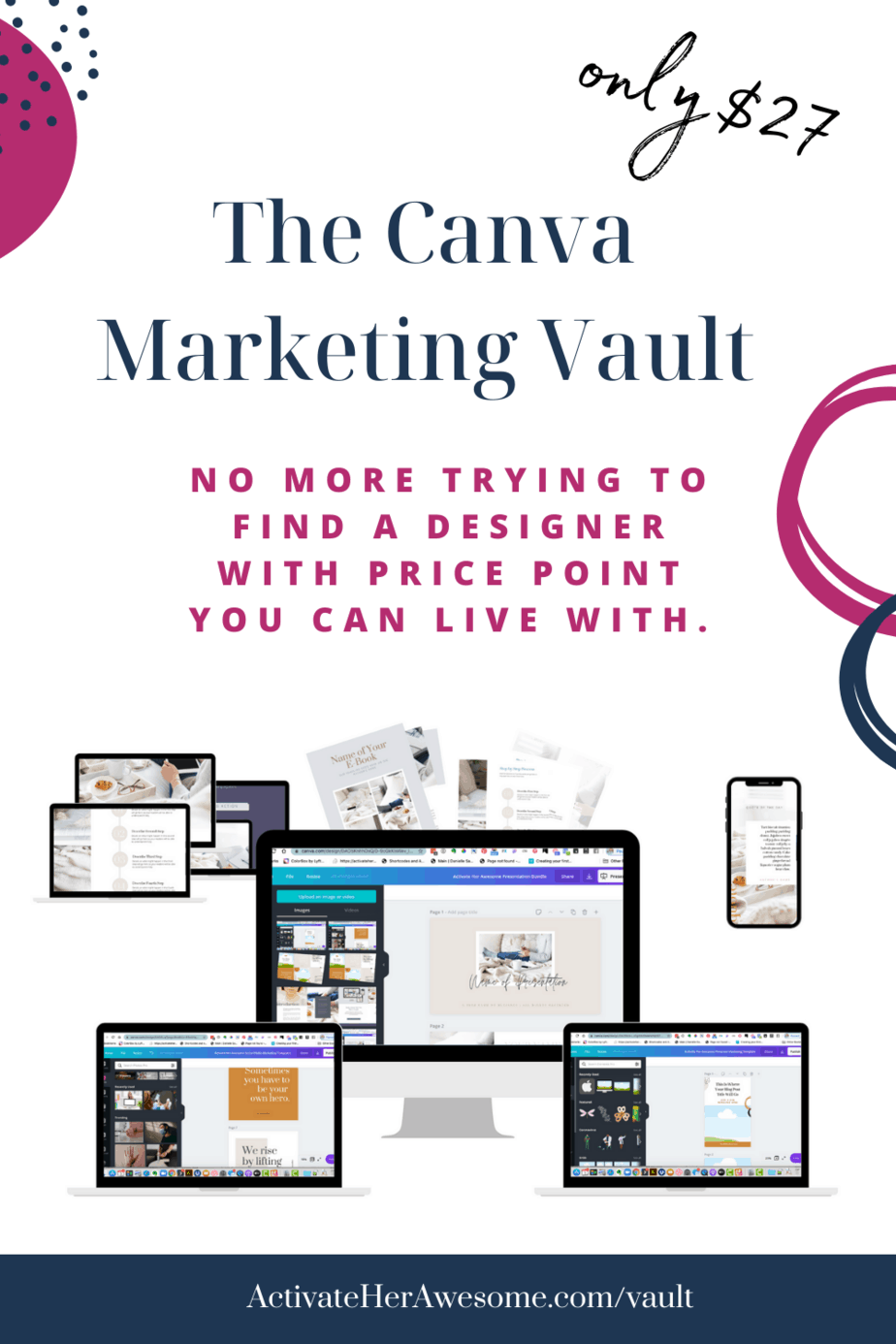 The Canva Marketing Vault - over 150 Canva Templates for Coaches, Creatives, and Consultants