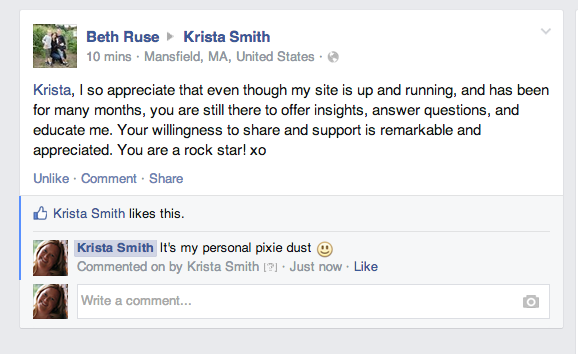 Beth Williamson Ruse on Krista Smith